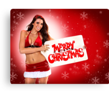 Sexy Santa's Helpers Holiday postcard on Red 3D Background with Snowflakes Canvas Print