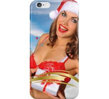 Sexy Santa's Helper girl great image for creating Holiday Greeting postcards or computer wallpapers iPhone Case/Skin