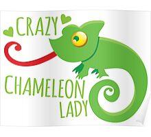 Crazy Chameleon lady Poster