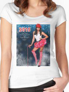Sexy Santa's Helper postcard wallpaper template design for 2015 Women's Fitted Scoop T-Shirt