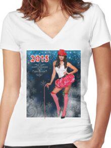 Sexy Santa's Helper postcard wallpaper template design for 2015 Women's Fitted V-Neck T-Shirt