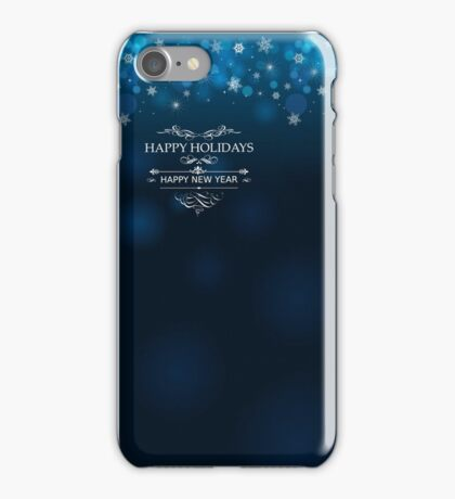 Happy Holidays and Happy New Year deep blue background for postcard poster template iPhone Case/Skin