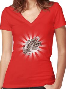 Sepia Koi Women's Fitted V-Neck T-Shirt