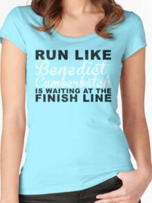 Run Like Benedict Cumberbatch is Waiting at the Finish Line Women's Fitted Scoop T-Shirt