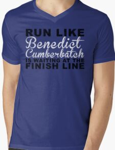 Run Like Benedict Cumberbatch is Waiting at the Finish Line Mens V-Neck T-Shirt