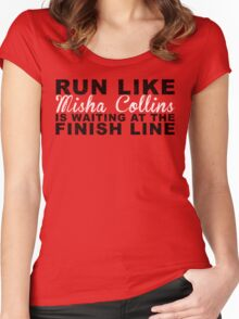 Run Like Misha Collins is Waiting at the Finish Line Women's Fitted Scoop T-Shirt