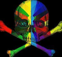 Rainbow Skull by spookydooky