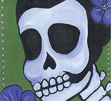Dia de los Muertos Skeleton Flower in Blue by natashablue