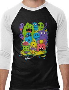 Test Tube Monsters Color Men's Baseball ¾ T-Shirt