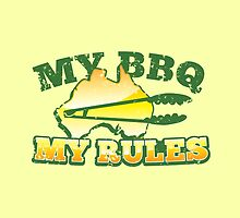 MY BBQ MY RULES Aussie Australian map with tongs by jazzydevil