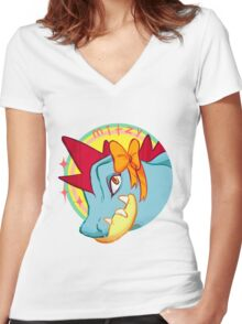 Mitzy the Feraligtr Women's Fitted V-Neck T-Shirt