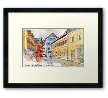 Travelsketch- Town of Hallstatt in Austria Framed Print