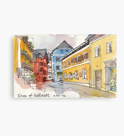 Travelsketch- Town of Hallstatt in Austria Canvas Print