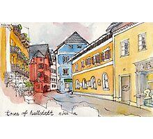 Travelsketch- Town of Hallstatt in Austria Photographic Print