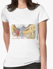 Travelsketch- Town of Hallstatt in Austria Womens Fitted T-Shirt