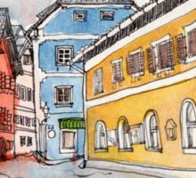 Travelsketch- Town of Hallstatt in Austria Sticker