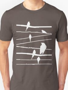 Birds on wire in white Unisex T-Shirt