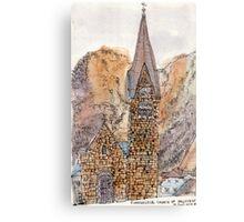 Travelsketch- Church in Hallstatt, Austria Canvas Print