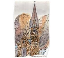Travelsketch- Church in Hallstatt, Austria Poster