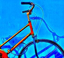 Orange Bike, Blue Wall by NawfalNur