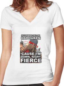 Hadouken Women's Fitted V-Neck T-Shirt