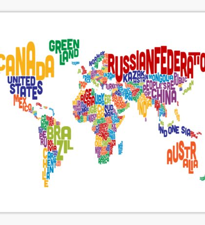 Text Map of the World Sticker