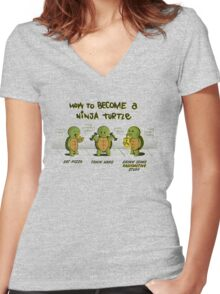 Become a Ninja Turtle Women's Fitted V-Neck T-Shirt