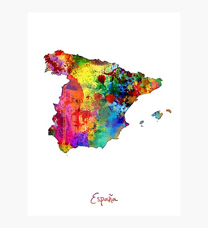 Spain Watercolor Map Photographic Print