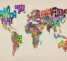 Text Map of the World by Michael Tompsett