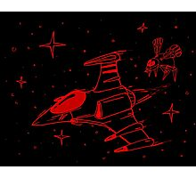 Galaga red and black  Photographic Print