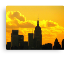 Yellow sunset silhouette, New York City  Canvas Print