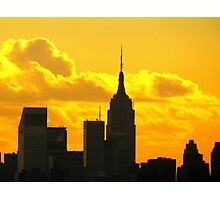 Yellow sunset silhouette, New York City  Photographic Print