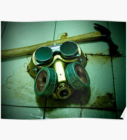 Dark Steampunk Gas Mask and Goggles Poster