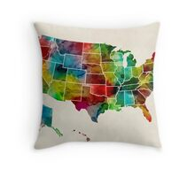 United States Watercolor Map Throw Pillow