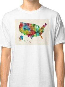 United States Watercolor Map Classic T-Shirt