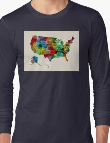 United States Watercolor Map Long Sleeve T-Shirt
