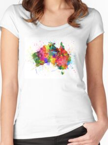 Australia Paint Splashes Map Women's Fitted Scoop T-Shirt