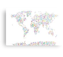 Music Notes Map of the World Metal Print