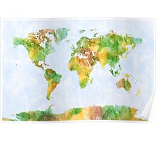 Map of the World Watercolour Poster