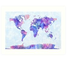 Map of the World Map Watercolor Painting Art Print