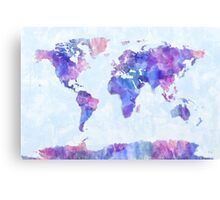 Map of the World Map Watercolor Painting Canvas Print