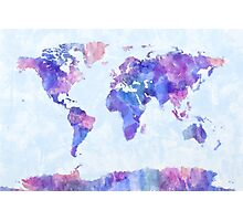 Map of the World Map Watercolor Painting Photographic Print