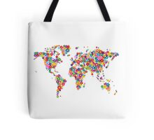 Flowers Map of the World Map Tote Bag