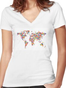 Flowers Map of the World Map Women's Fitted V-Neck T-Shirt