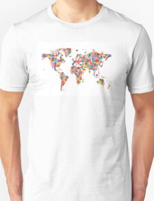 Flowers Map of the World Map Unisex T-Shirt