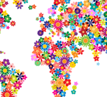 Flowers Map of the World Map Sticker