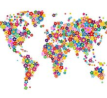 Flowers Map of the World Map by Michael Tompsett