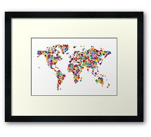 Flowers Map of the World Map Framed Print