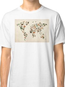 Dinosaur Map of the World Map Classic T-Shirt