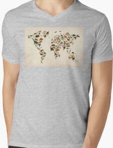 Dinosaur Map of the World Map Mens V-Neck T-Shirt